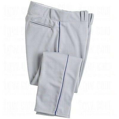 (X-Large, Gr) - Majestic Boy's Zipper Front Baseball Pant with Piping. Brand New