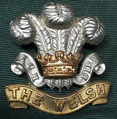 WWI The WELSH REGIMENT British hat cap badge WW1 (now The Welch)