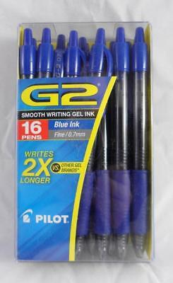 NEW 16 Pack Pilot G2 Ball Point Pens Blue Gel Ink Fine Point 0.7mm Retractable
