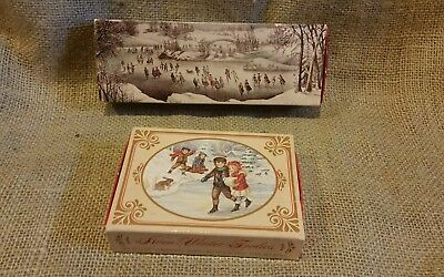 New Vintage AVON 1876 WINTERSCAPES Soap Set Currier & Ives and Winter Frolics