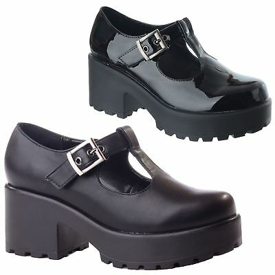 New Ladies Womens Chunky Mid Block Heel Platform T Bar Cut Out Buckle Shoes Size
