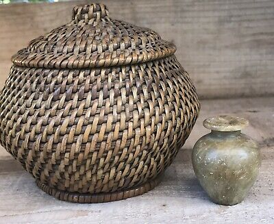 Old Chinese Jar Basket with Lid and Miniature Hard Stone Vase