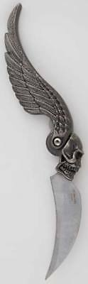 Skull Wing Gothic Curved Stainless Steel Folding Lock-Back Knife Dagger Athame