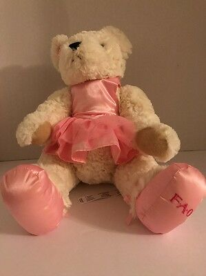 "FAO Schwartz Ballerina Plush Teddy Bear 12"" Seated  Tutu 2015"