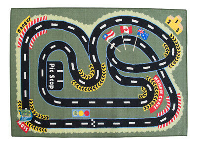 New Childrens Rug Floor Mat Rugs KIDS Racing Track CARS Activity 100 x 150cm
