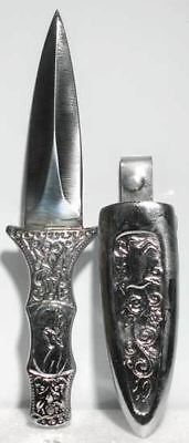 """Small 6"""" Engraved Silver-Color Boot Knife Dagger Ritual Athame w/ Clip-On Sheath"""