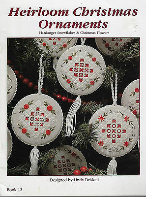Heirloom Christmas Ornaments - Snowflakes & Flowers HARDANGER embroidery Xmas