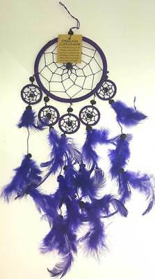 "5"" Hoop Purple Dream Catcher with Feathers Beads"