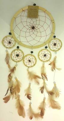 """6-1/4"""" Hoop Tan Dream Catcher with Feathers Beads"""