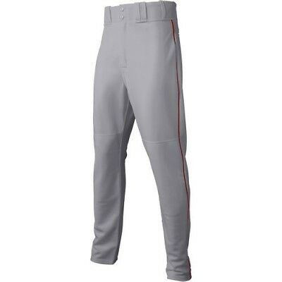 (Large, Gray/Scarlet) - Majestic Boy's Zipper Front Baseball Pant with Piping