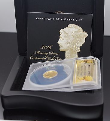 2016-W 1/10 Oz 24K Gold Mercury Dime Us Coin Centennial Sp-70 Anacs Certified