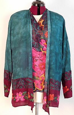amazing jewel tones blue vintage carole little long jacket/top