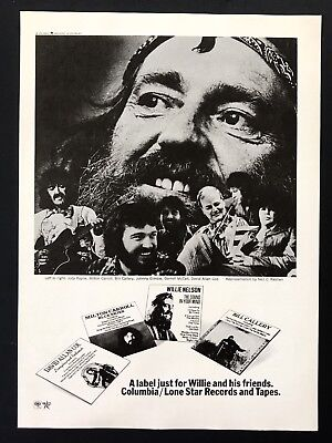 1976 Vintage Print Ad LONE STAR RECORDS Willie Nelson Country Music Neil Reshen
