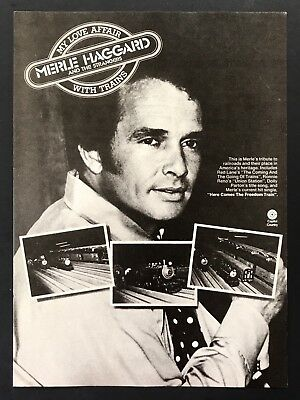 1976 Vintage Print Ad MERLE HAGGARD My Love Affair With Trains Capitol Country