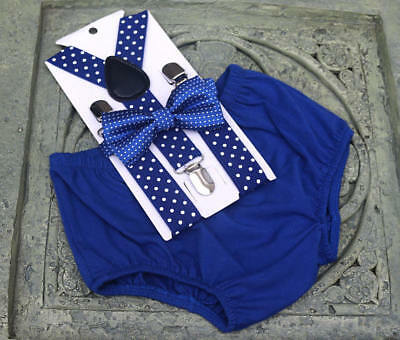1st Birthday boy cake smash diaper cover bow tie boy clothes  royal blue polka