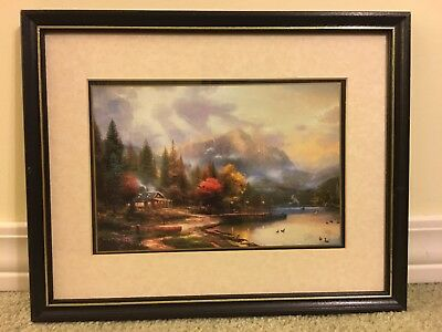 """""""End Of A Perfect Day"""" By Thomas Kinkade 11 X 14 Matted Framed Print With COA"""