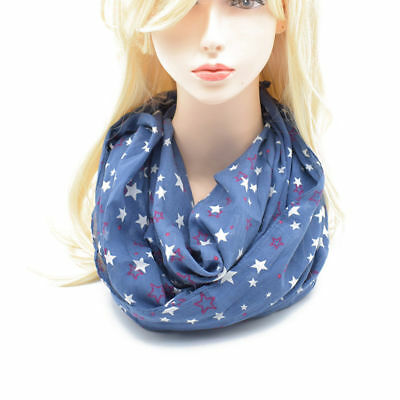 Voile Star Print Thin Infinity Circle Loop Scarf Lightweight Long Shawl Wrap