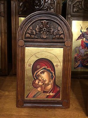 Our Lady Theotokos The Healer- handmade Woodcut Greek orthodox  byzantine icon