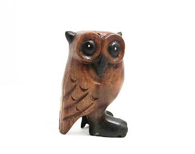 "Small Wooden Owl 4"" tall, Home & Office Decor, Hand Carved Cute Bird - NEW, MED"