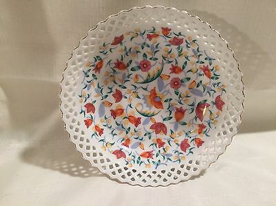 Vintage Porcelain Floral Reticulated Serving Bowl~Germany