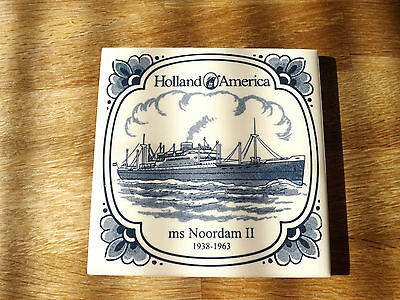 """Holland - America Line  ms Noordam II - 1938 - 1963 Delft Tile 1/8"""" Thick."""