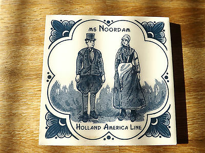 """Holland - America Line  ms Noordam  Delft Tile 1/4"""" Thick."""