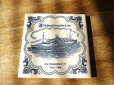 """Holland - America Line  ms Maasdam IV - 1952-1968 Delft Tile 1/8"""" Thick."""