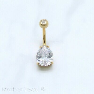 10Mm Pear Double Simulated Diamond 14K Yellow Gold Triple Plate Belly Navel Ring