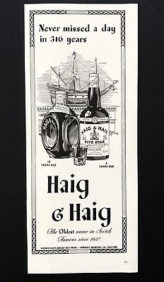 1943 Vintage Print Ad HAIG & HAIG Illustration Boat Bottle Whiskey