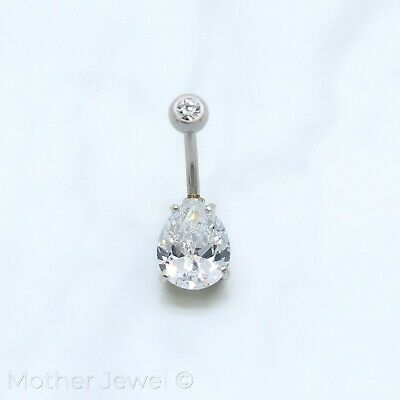 10Mm Pear Double Simulated Diamond Silver 316L Surgical Steel Belly Navel Ring