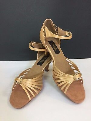 Nude strappy, gold diamonte buckle salsa, ballroom, latin dance shoes size 9.5