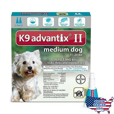Bayer K9 Advantix II Flea, Tick and Mosquito Prevention for Medium Dogs, 11 - 20