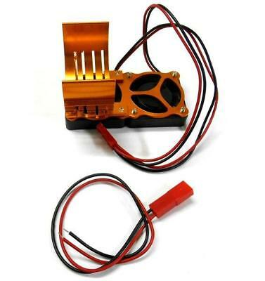 NEW ALUM 540 MOTOR HEAT SINK WITH COOLING FANS - ORANGE from RC Hobby Land