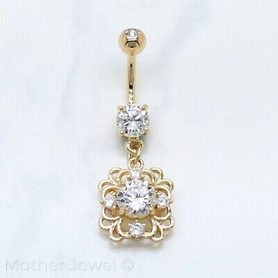 14K Yellow Gold Triple Plated Filigree Square Floral Dangle Cz Belly Navel Ring