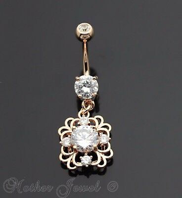 14K Rose Gold Triple Plated Filigree Square Floral Dangle Cz Belly Navel Ring