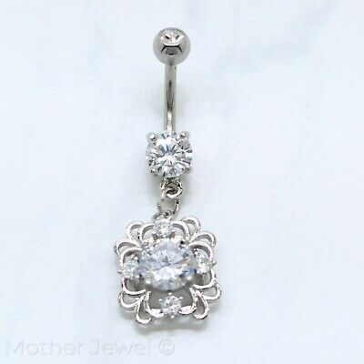 Jewelry & Watches Letter N Alphabet Cz Dangle 316l Surgical Steel Navel Belly Curved Bar Ring