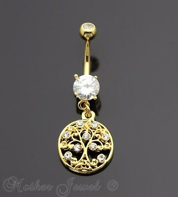 14K Yellow Gold Triple Plate Round Family Tree Of Life Dangle Belly Navel Ring