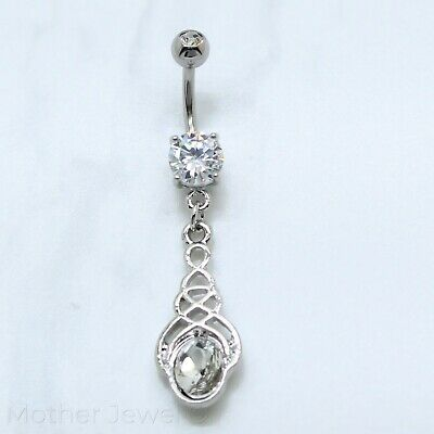 Silver Surgical Steel Oval Gem Filgree Weave Pattern Drop Dangle Belly Ring