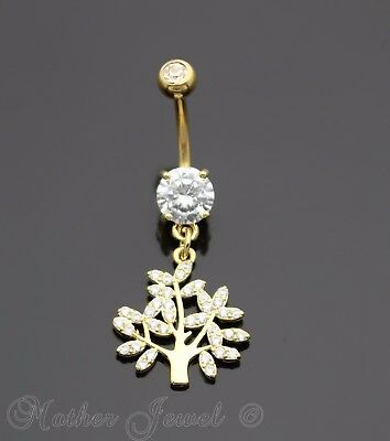 14k Yellow Gold Triple Plate Bezel Set Simulated Diamond Belly Button Navel Ring Elegant Appearance Other Wedding Jewelry