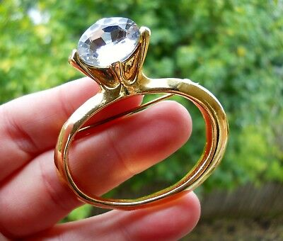 Quirky Vintage Gold Tone & Lucite Brooch Shaped Like a Big Diamond Ring