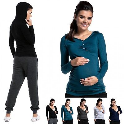 Zeta Ville - Women's breastfeeding top lightweight hoodie - front buttons - 283c
