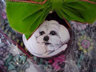 Maltese Hand Painted Glass Christmas Ornament