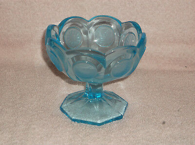 Fostoria Turquoise Blue with Frosted Coin Ware Glass Footed Compote