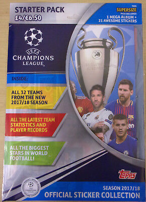 Uefa Champions League 2017/18 ~ Topps Sticker Collection Starter Album Pack