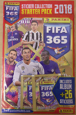 Fifa 365 ~ 2018 Panini Football Sticker Collection Starter Pack & 26 Stickers
