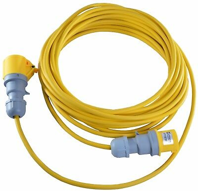 110V 16 AMP to 16 AMP Yellow Extension Lead 5m-25m 1.5mm Building Site Lighting
