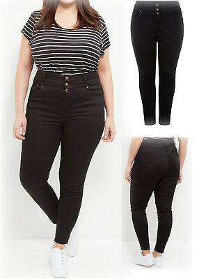 New Ladies New-Look Curve Black Skinny Jeans High Waist Trouser Plus Size 18-28