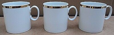Thomas Germany White/gold Wide Gold Band 3 X Coffee Cups