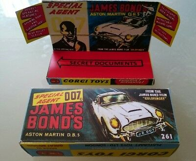 Repro Box Corgi 261 Aston Martin DB 5 James Bond box & Tray