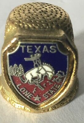 "Goldtone Metal ""Texas Lone Star"" 1"" Inch Small Collectible Sewing Thimble"